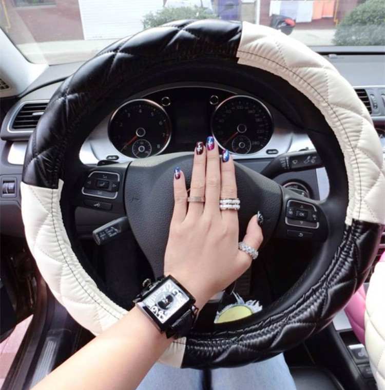 Free shipping fashion girls car leather steering wheel for Automobile decoration accessories