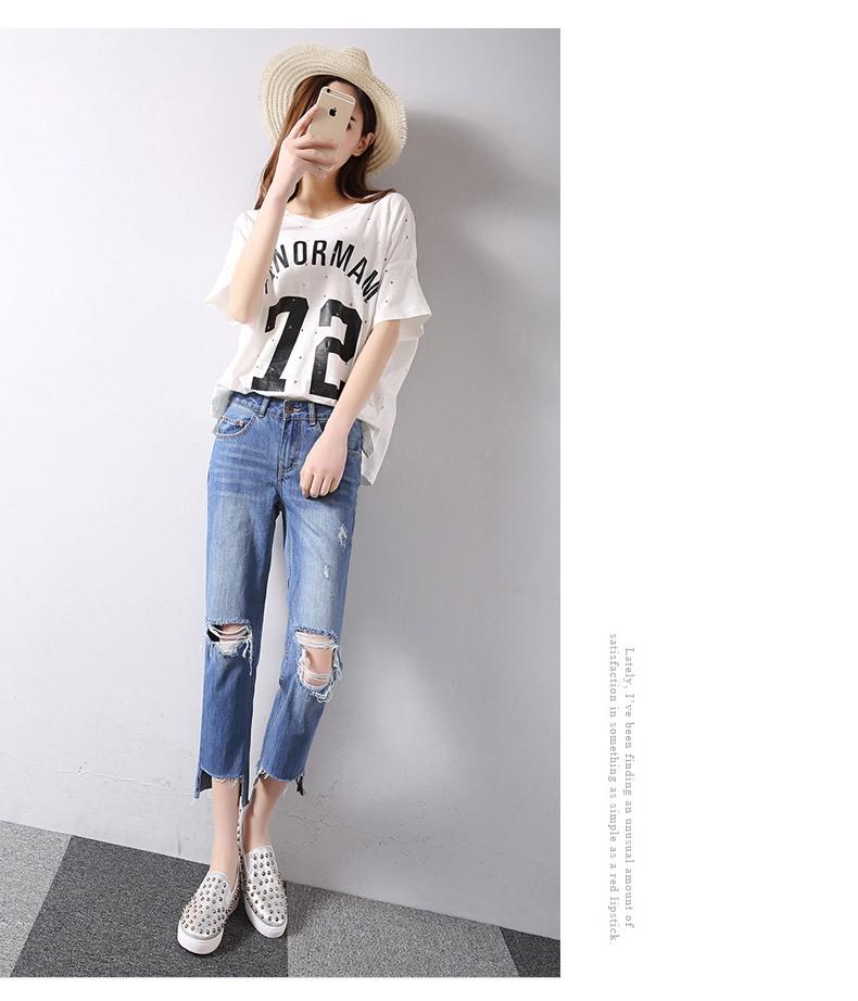Скидки на Большое отверстие в колено повседневные брюки потертые джинсовые небольшие прямые джинсы женский прилив Обрезанные Брюки