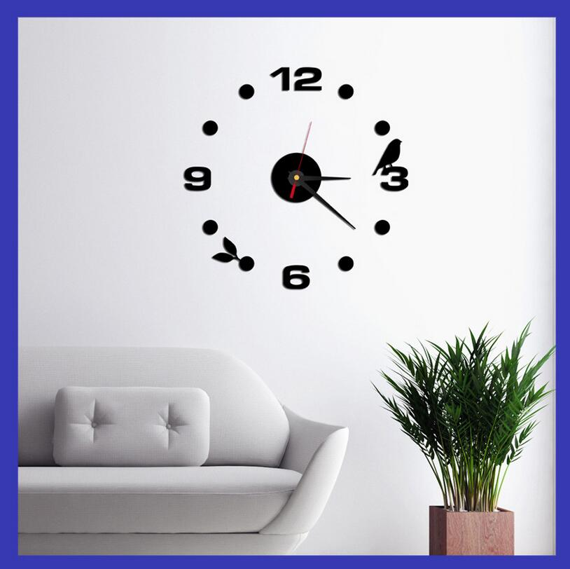 2016 Fashion 3D wall clock Frameless Wall Clock Style Watches Hours DIY Room Home Decorations Model Acrylic Clock(China (Mainland))