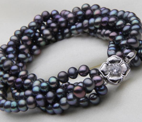 7inch Strand Natural Freshwater Cultured Pearl Bracelet Women jewelry Freshwater Pearl Potato, 5-strand black Pearl Bracelets