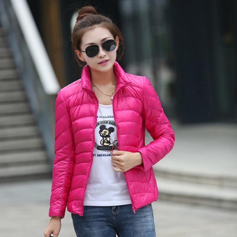 2015 New Fashion Women Winter Jacket Candy Color Slim 90% White Duck Down Women Plus Size Ultra Light Down Jacket TB547(China (Mainland))