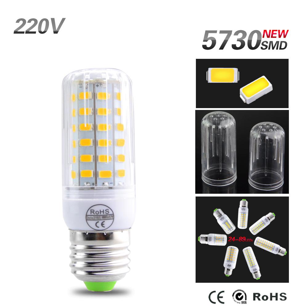 2016 New SMD5730 LED Lamp Light 220V 110V E27 Led Corn Bulb 24-108Leds Radiation Fireproof Cover Bombillas Led Bulb Candle Light(China (Mainland))