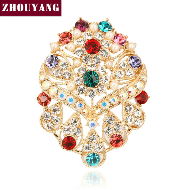 ZYX013 Gorgeous Multicolour Crystal Brooches 18K Champagne Gold Plated  Jewelry Austrian Crystal  Wholesale