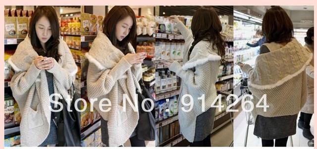 Women Lady Girl Kerean Rabbit Fur Brim Bat Shawl Cardigan Sweater Knit Outwear    free shipping