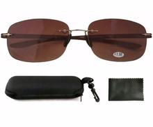 SR14002 Patented Sun Readers Rimless Bifocal Sunglasses For Men and Women W case 1 00 1