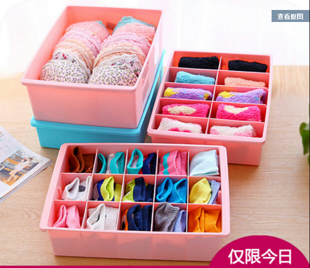 2015 New Removable Partition Storage Boxes Drawer Type Underwear Socks Underpants Storage Bins Plastic Organizer(China (Mainland))