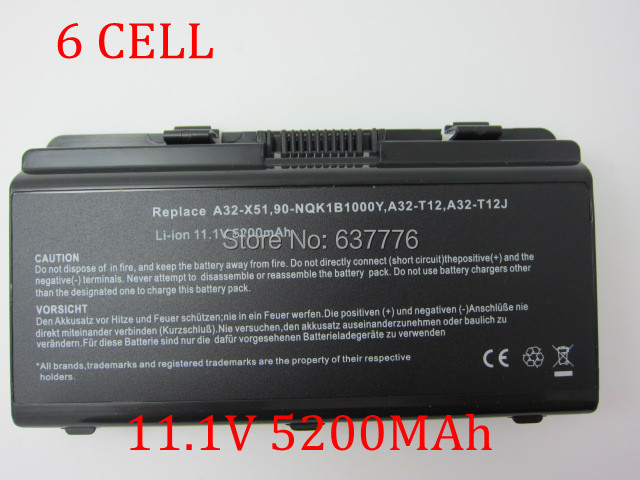 laptop battery for ASUS 7430020000,7432520000,7414750000,CBI2095A,X51,X51H X51L X51R X51RL,X58L,T12,T12C T12Er T12Fg(China (Mainland))