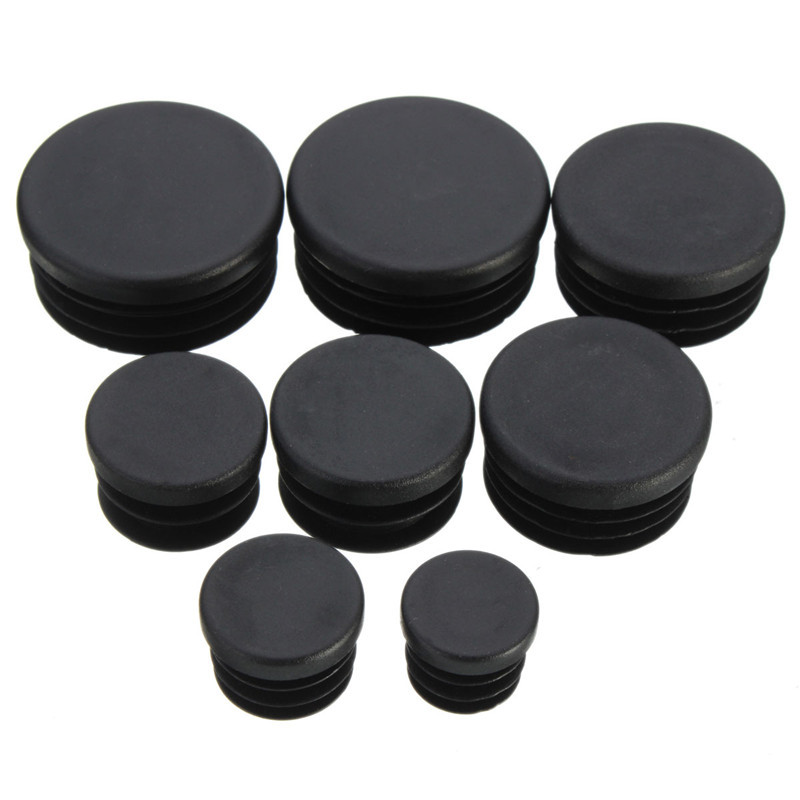 Best Promotion Eight Sizes 10x Black Round Plastic Blanking End Caps Insert Plug Bung Bung Tube Tidy up New(China (Mainland))