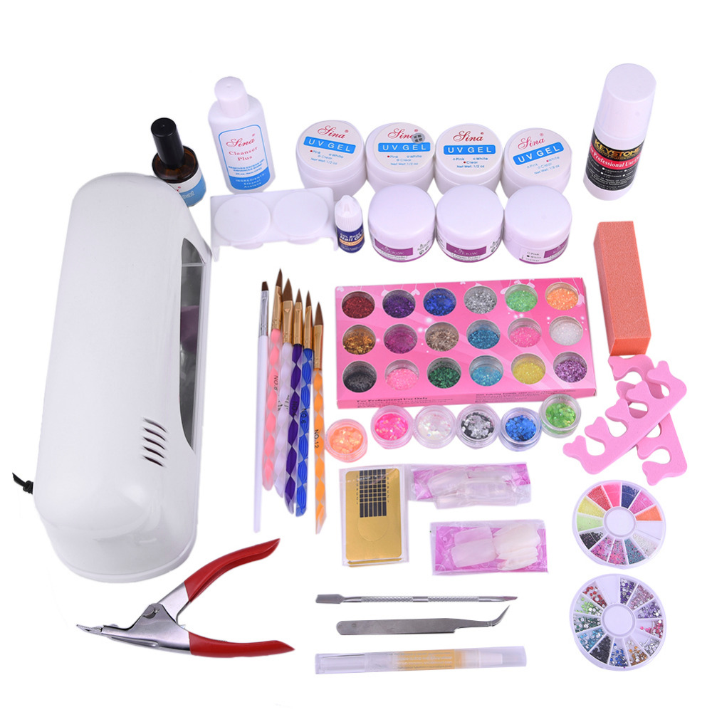 Pro 9W UV Gel Light Therapy Machine UV Gel Acrylic Powder Set Nail Rhinestone Decorations Nails Brush File Manicure Tools Kit(China (Mainland))