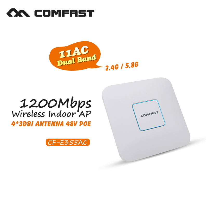 Wireless Indoor Ap Comfast 1200Mbps Wifi Signal Amplifier Repeater Dual band 802.11 AC Gigabit Router Wi fi 48V POE Access Point(China (Mainland))