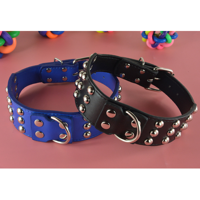 2inch Wide Two Colors New Leather Pattern Studded Mushroom Rivets Pet Dog Collar 17-24inch Pitbull Mastiff