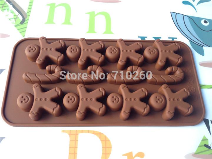 Free shiping 1pcs snowboy Shape Chocolate Muffin Bake Candy Jelly Ice Silicone old Pan Tray Maker(China (Mainland))