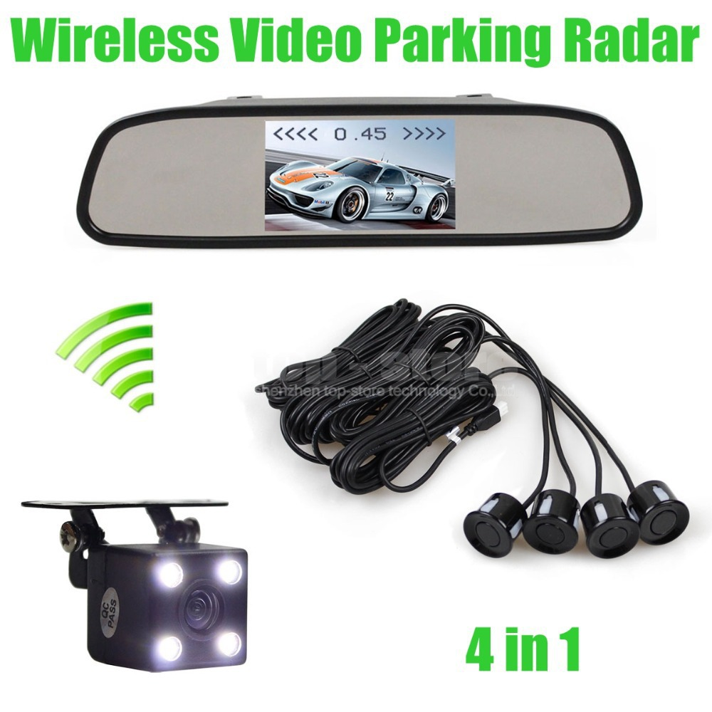 Wireless Video Parking Radar 4 Sensors 4.3 Inch Car Mirror Monitor + 4 x LED Ccd Car Rear View Camera Parking Assistance System(China (Mainland))