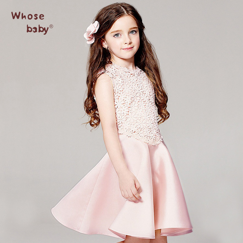 Whosebaby Polyester Sleeveless Dresses Cute O-neck Voile Appliques Lace A-Line Solid Knee-Length Cotton Princess Girl Dress(China (Mainland))