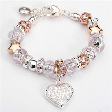 SMB018 Free Shipping 925 Sterling Silver Jewelry Heart Bracelet Daisies Murano Glass European Beads Charm Bracelets(China (Mainland))