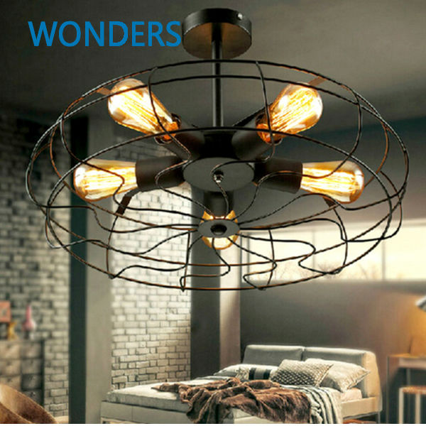Rh Loft Vintage American Personality Industrial Style Electric Fan Ceiling Light With 5pcs E27 Edison light bulbs(China (Mainland))