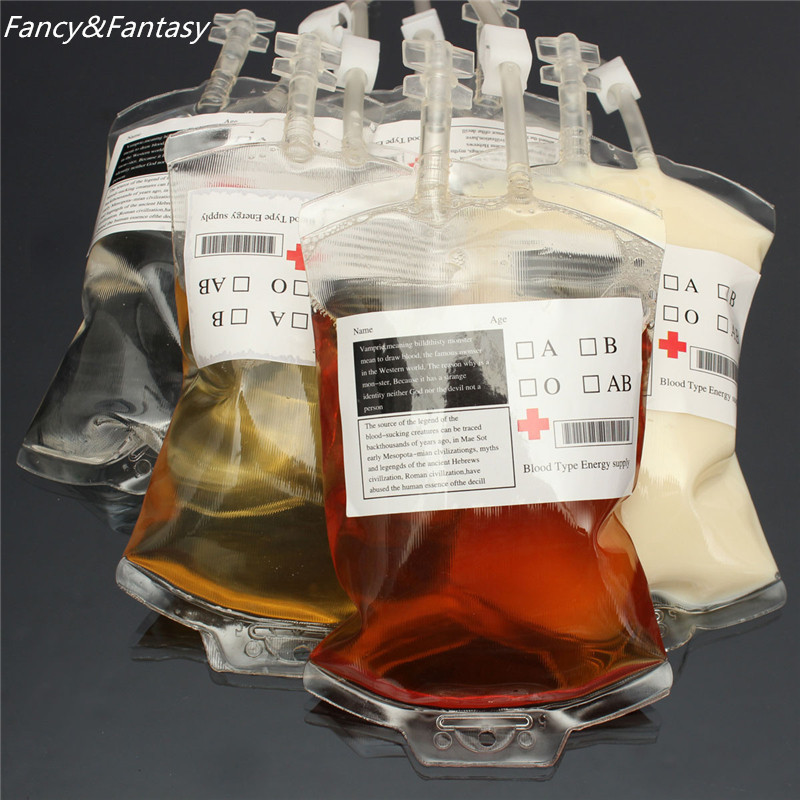 Fancy&Fantasy 1pc 300ml Food Grade PVC Material Reusable Blood Vampire Energy Drink Bag Halloween Party Pouch Cool Gift Props(China (Mainland))