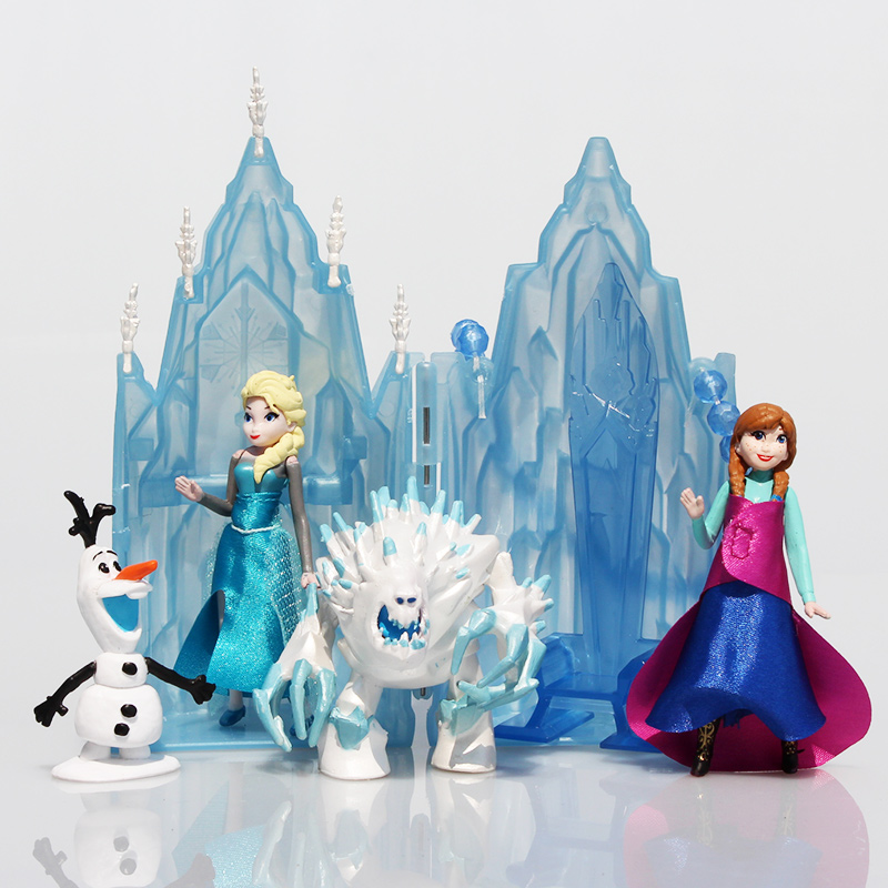 5Sets/Lot Princess Elsa Anna Ice Castle Palace Throne Play Set PVC Model Toys Dolls 7~15cm Great Gift<br><br>Aliexpress