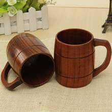 1PC Classical Wood Work Wooden Beer Tea Coffee Cup Mug Eco-friendly 400ml For Gatherings Party Carnival Heatproof Healthy Drink