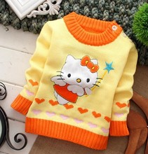 2014 Special offer fashion hello kitty star o-neck long sleeve cartoon character patchwork baby clothing sweaters free shipping(China (Mainland))