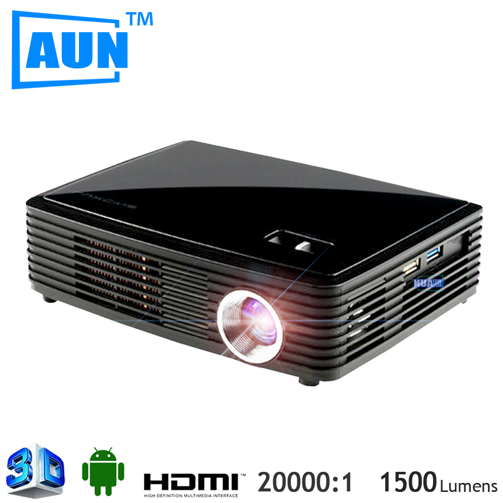 AUN LED Projector 3D 4k Chip Projector + Active 3D Glasses for Gift Support 1920*2205P Build-in WIFI Android 4.4.2 Bluetooth(China (Mainland))