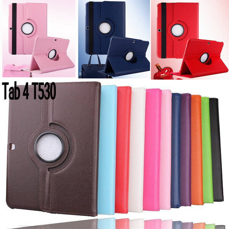 2015 New Case For Samsung Galaxy Tab 4 10.1 inch T530 / T531 / T535 Tablet PU Leather Case Cover Rotating with Free Stylus Pen(China (Mainland))