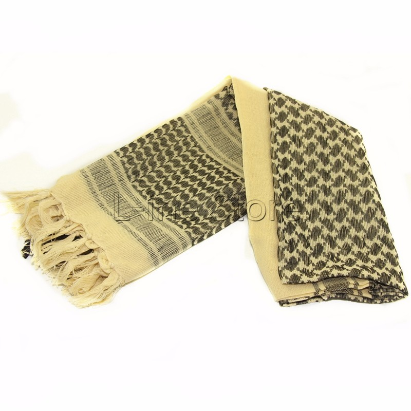 100% Cotton Winter Scarves Deaset Tan Military Tactical Keffiyeh Shemagh Arab Scarf Shawl Neck Cover Head Wrap Outdoor Hiking