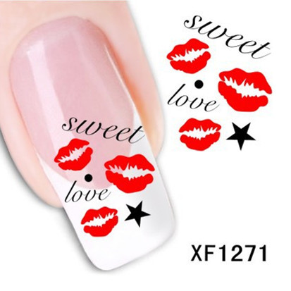 [D-XFXF1271]1 Sheet XF1271 3D Design Kiss Style DIY Watermark Nail Decals, Water Transfer Nail Stickers Manicure Tools(China (Mainland))