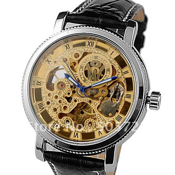 Fashion Style Gold Skeleton Dial Hand Wind Automatic Men's Mechanical Watch Waterproof Black Leather Gift - Cougar Trading Co., Ltd., Guangzhou store