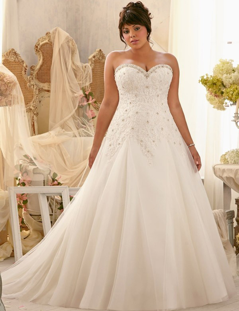 New Arrival Elegant Lace Appliques Sweetheart Plus Size Beaded Wedding Dresse