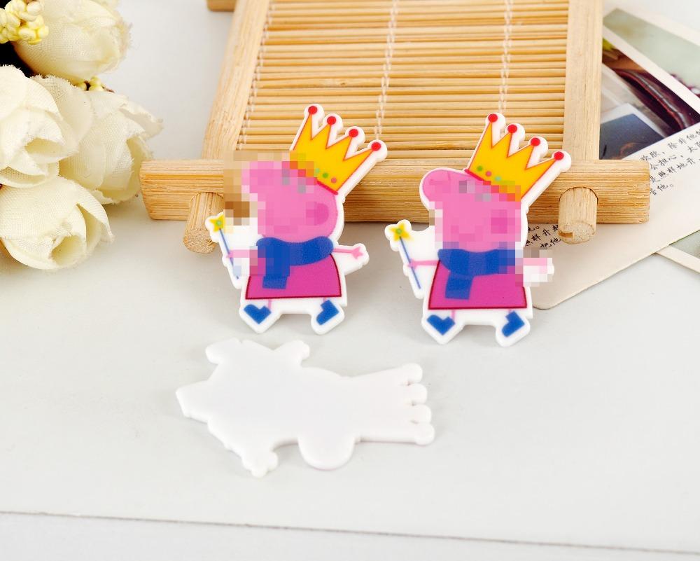 Kawaii cartoon flat back planar resin crown Pink Pig Figurine fairy Home decoration craft DIY hair Bow accessories SC2408(China (Mainland))