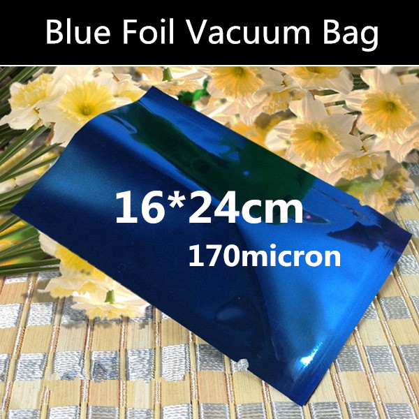 100pcs 16x24cm High Quality 170micron Blue 3 Sides Mylar Bags Aluminizing Foil Vacuum Foil Bag Heat sealing Bag(China (Mainland))