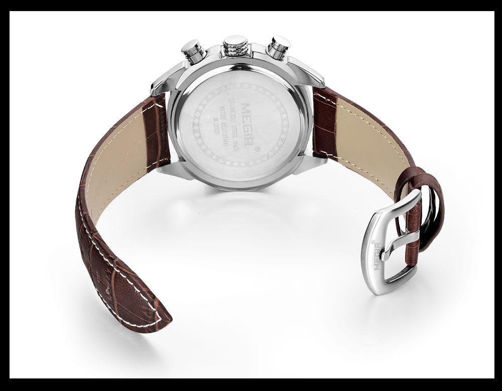 MEGIR Мужчины Хронограф Многофункциональный Водонепроницаемый Циферблат Черный Кожаный Часы Военные Кварцевые Часы Relogio Masculino