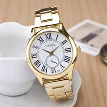 Relogio masculino cuarzo del dial romano, oro de acero lleno de la correa relojes mujer. digital ginebra mujeres del reloj envío gratis