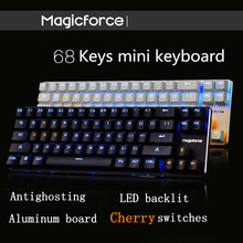 Magicforce Smart 68 Keys Backlit Antighosting USB Mechanical Gaming Keyboard Alu Alloy Cherry MX Blue/Black Switches Double PCB