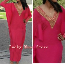Vestido Longo Moroccan Kaftan Evening Dresses With Sleeves Gold Beaded Mermaid V Neck Chiffon Caftan Dubai Lady Party Gowns 2016