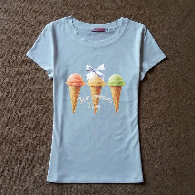 New 2016 High Quality Fashion Graphic Tee shirt femme Ice cream Print T shirt Women summer style Cotton T-shirt Women Tops(China (Mainland))