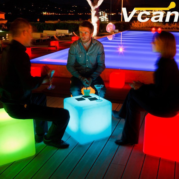 PE plastic Waterproof Rechargeable Led Illuminated Furniture indoor bar chairs(China (Mainland))