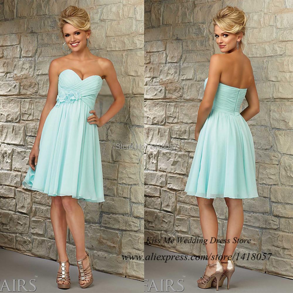 Vestido de dama de honra short mint green bridesmaid for Inexpensive dresses to wear to a wedding