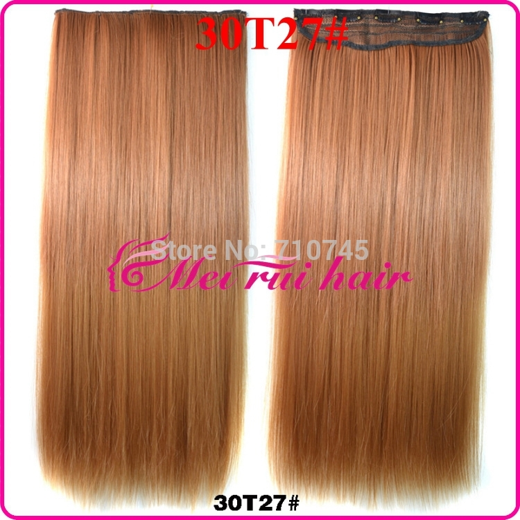 "1pc 22""/55cm 120g 30T27# Synthetic Clip In Hair Extensions Heat Resistant Fiber Synthetic Hair Extension 55501(China (Mainland))"