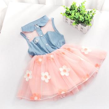 Fashion Baby Kids Girls Denim Dress Sleeveless Shirt Tulle Princess Tutu Dresses 2-7Y