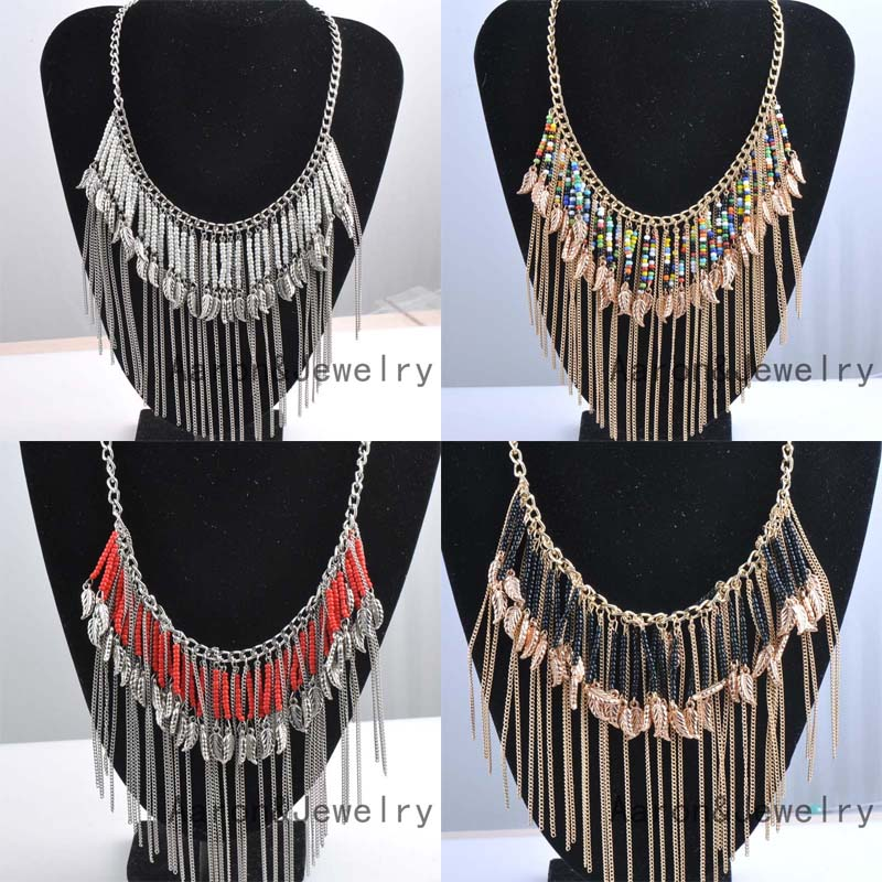 2016 High Quality Bohemian Vintage Necklace Antique Silver Turquoise Jewelry Long Tassel Necklace Statement Necklace For Women(China (Mainland))