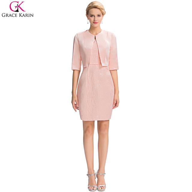 Элегантный грейс карин-line 2 шт. короткое вечернее платье с курткой розовый мать ...