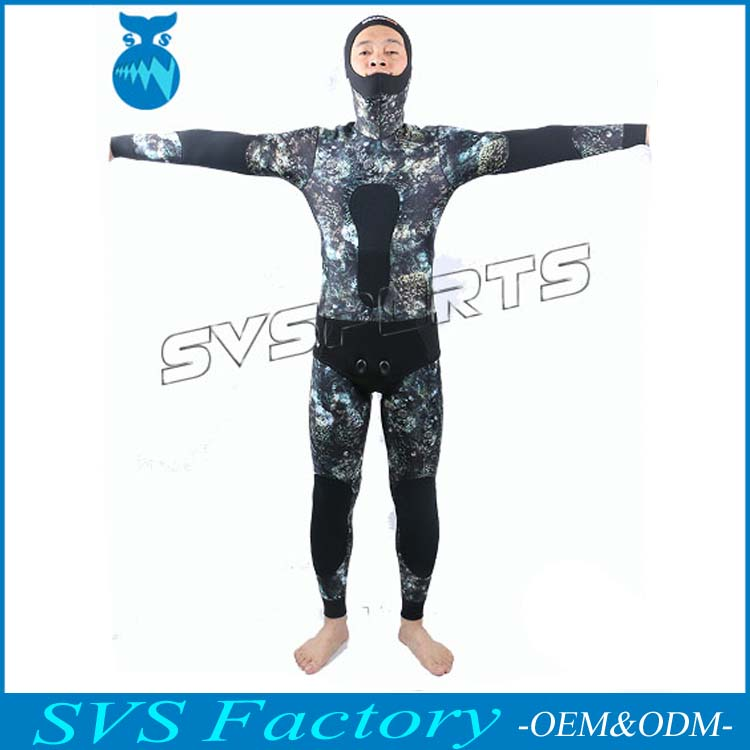 Factory Supply 2 Pieces 3.5MM Men Wetsuit Spearfishing Surfing Suit Camo Neoprene Wetsuit, jacket of tall waist,Australia design(China (Mainland))