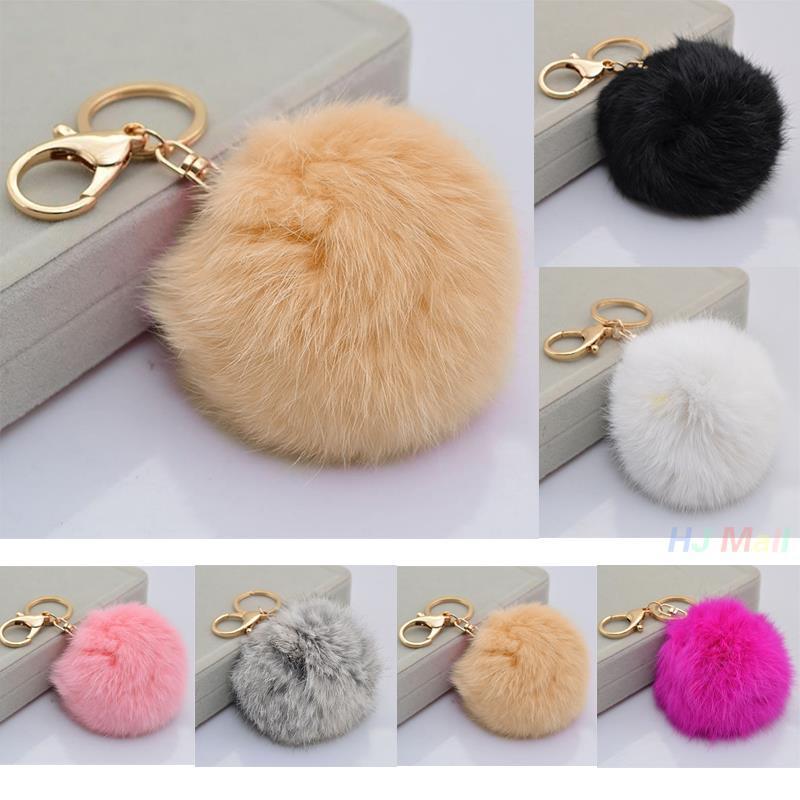 7 color for Cute 8cm Rabbit Fur Soft Fluffy Charm Ball Keychain Dangle Car Handbag Pendant Key Ring phone straps(China (Mainland))