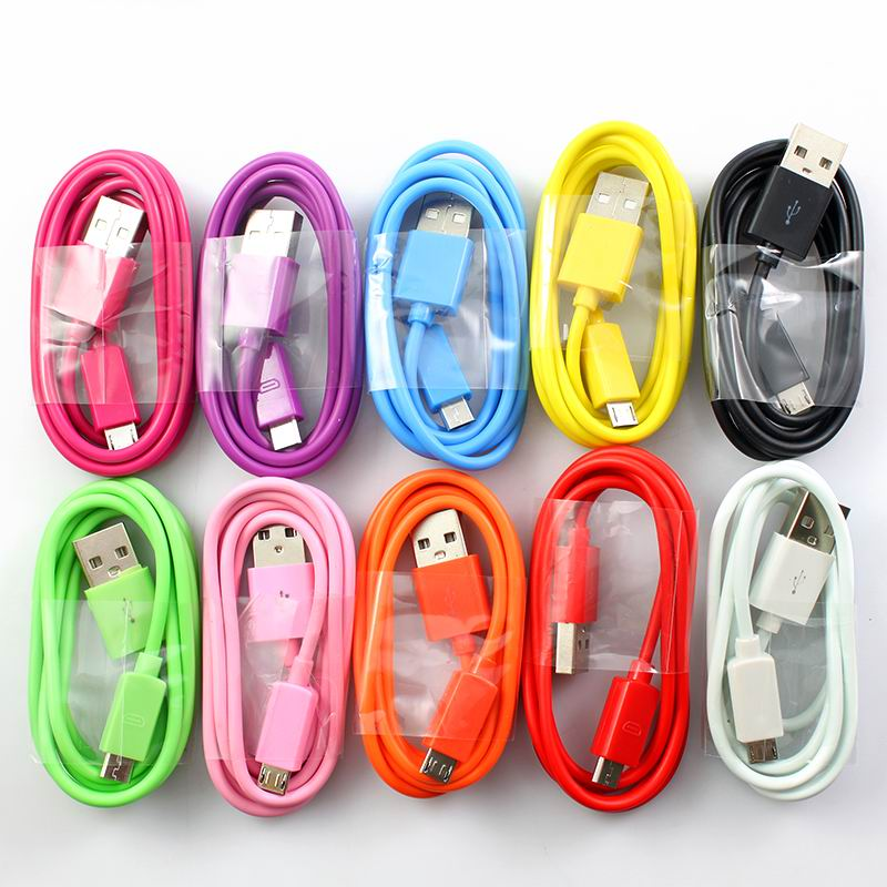 New 1M 3FT Colorful V8 Micro USB Sync Data Charger Charging Cable Cord For Samsung LG HTC Motorola Android Cell Phone Tablet