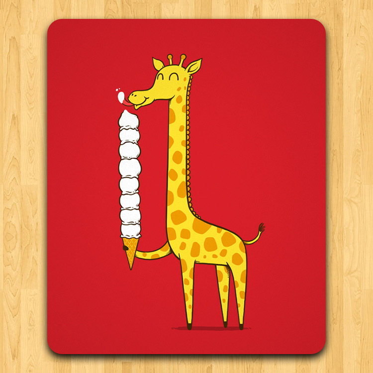 NEW Art Creativea Nostalgia Giraffe eating ice cream Mouse Pad Mat accessories 240X200X3mm poster mouse pads FreeShipping(China (Mainland))