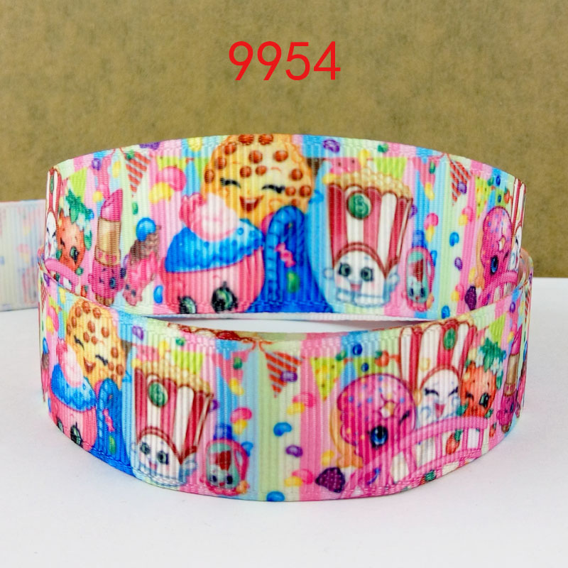 Free shipping 50 yard per size cartoon printed grosgrain ribbon 9954(China (Mainland))