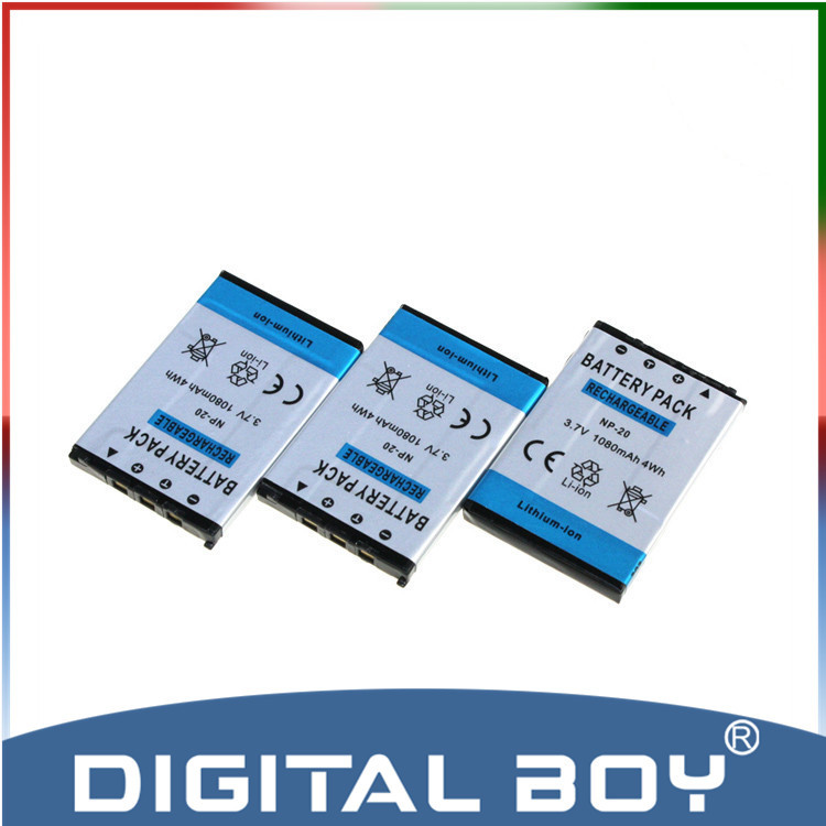 Digital boy! 3pcs/lot NP-20 NP20 NP 20 1000mAh replacement Battery For CASIO EX-S880 EX-Z6 EX-S880RD Exilim Card EX Zoom z1(China (Mainland))