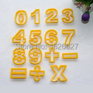 15PCS/SET Kitchen Accessories Fondant Plastic Numeral Cookie Cutter Number Digital Symbol Cookie Stamp Moldes(China (Mainland))